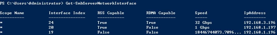 检查 SMB 服务器网卡是否启用 RSS 和 RDMA